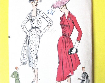 1950s Draped Dress Vogue 8820 One-Piece DRESS  Original FF Slim six-gored skirt High and low front neck-line  Scarf Bust 46
