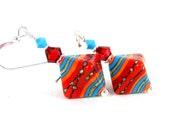 Colorful Southwestern Dangle Earrings Lampwork Earrings, Tribal Earrings Orange Red Turquoise Glass Earrings Triangle Geometric Earrings GRJ