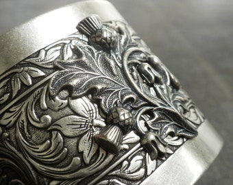 Outlander Bracelet Scottish Thistle Jewelry Silver Cuff