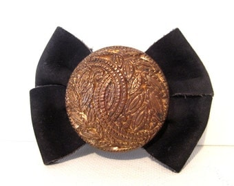 Vintage Pair Shoe Clips Black Suede Gold Embossed Circle, Wear or Repurpose