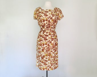 AUTUMN LEAVES // 1960s mad men backless wiggle dress / M L