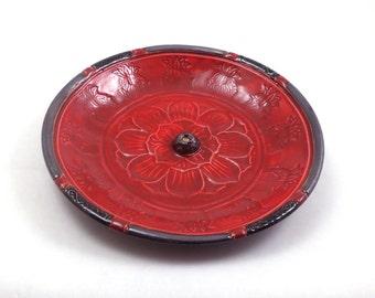 Lotus Incense Burner Handmade Raku Ceramic Pottery Red