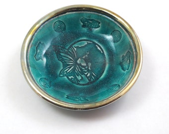 Fairy Cameo Offering Bowl Handmade Raku Pottery