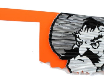 Officially licensed Oklahoma State University PISTOL PETE wall hanging - black & white,made from recycled magazines,modern,art,college
