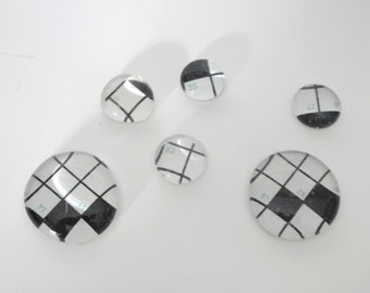 crossword puzzle magnet or push pin set - made from recycled magazines, teacher gift, math, back to school, locker decoration