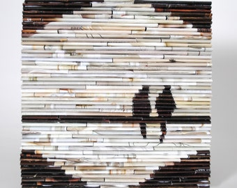 lovebirds on a line - wall art- made from recycled magazines, brown and tan, classic, nature, birds, beautiful, unique, 2 birds, lovebirds