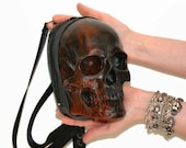 Leather backpack, skull bag, leather bag skull backpack, leather fanny pack, Skull purse, large skull bag, black skull purse black purse
