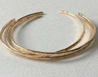 14k Gold Filled , Skinny cuff Bracelet Set - Gold Skinny Cuff- Cuff Bracelet Set- minimalist Bangles, Champagne Collection