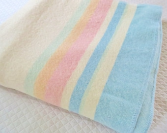 Wool blanket, vintage 50s blanket, Canadian blanket, wool bed cover, pastel stripes, camp blanket, throw blanket, vintage bedroom