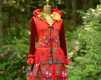 Gypsy style embroidered boho romantic COAT/ Art to wear, felted flowers, fringes/ patchwork fantasy clothing in Small size. Ready to ship