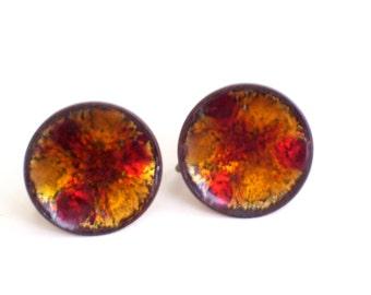 Modernist Abstract Enamel Copper Earrings, Hogan Bolas Earrings, Vintage Hogan Bolas Enamel Copper Modernist Screwback Earrings