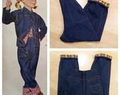 Vintage 1950s Flannel Lined Side Zipper Jeans Dungarees M/L