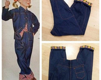 Vintage 1950s Flannel Lined Side Zipper Jeans Dungarees M/L