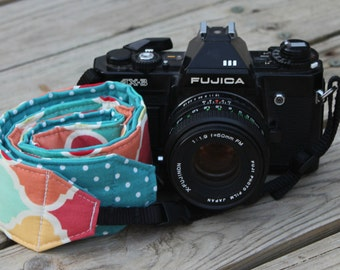 Monogramming Included Camera Strap for DSL Camera Multi Lattice Print With Turquoise Reverse
