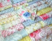 Vintage Chenille Squares-Blue, Yellow and Pink - PRETTY