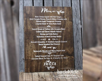 Wedding Menu with monogram sign (W-044) - engraved lettering 30x40