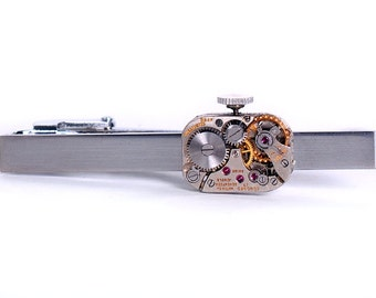 Steampunk Vintage Concord Watch Movement Tie Bar Alligator Clip