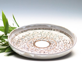 Cloudy White Ceramic Plate/ Fruit Plate/ Serving Dish