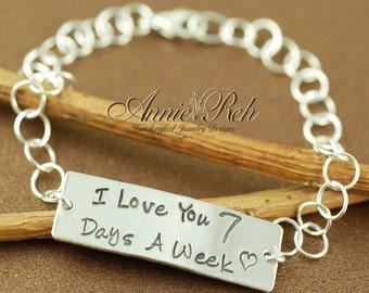 ON SALE Hand Stamped Sterling Silver ID Bracelet, Personalized Bracelet, Id Style Bracelet, I Love You Bracelet