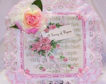 ON SALE Picture, Wall Decor, Gifts for Her, Pink Roses, Sheet Music, Ribbons, Lace, Feminine, Home Decor, Wall Hanging, Free Shipping, Shabb