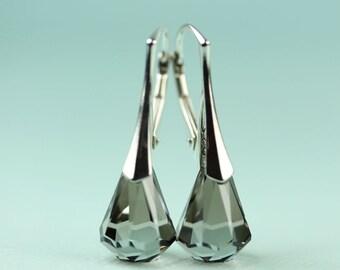 Swarovski Crystal tear drop earrings by art4ear Crystal Satin, sterling silver lever back, gift for her, rain drop earrings, modern jewelry,