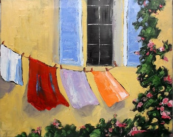 Lynne French Impressionist PROVENCE LAUNDRY Upstairs Window Pink Roses Landscape Painting 16x20 Art