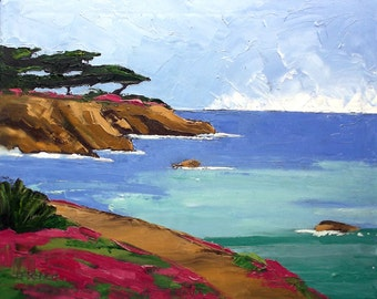 Impressionist Painting California Pacific Grove Monterey Bay Art Lynne French Landscape 16x20