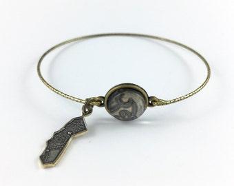 California Bracelet, California Bangle, California Gift, California Jewelry, Vintage California,  California Map, Spoon Jewelry