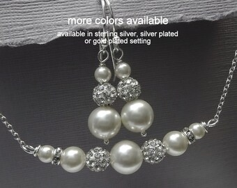 White Pearl Wedding Jewelry Set, Swarovski White Pearl Bridesmaid Gift Jewelry Set, Maid of Honor Gift, Mother of the Groom Gift