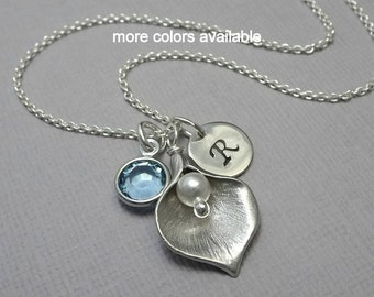 Calla Necklace, Calla Lily and Aquamarine Birthstone Charm Necklace, Maid of Honor Gift, Wedding Necklace, Gift for Her, Gift for Mom