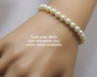 CUSTOM COLOR Swarovski White Pearl Bracelet, Bridesmaid Bracelet, Bridesmaid Jewelry, Bridesmaid Gift, Maid of Honor Gift, Gift for Her