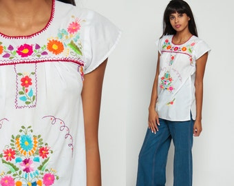 Mexican Top Embroidered Blouse Hippie Boho Shirt Floral FESTIVAL Cotton Tunic Top Bohemian White Rainbow Vintage Ethnic Tent Extra Small xs