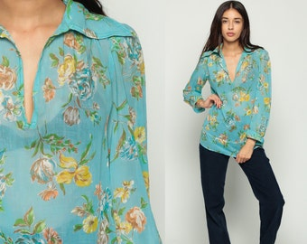 Sheer Floral Blouse 70s Floral Top Tunic Hippie Boho Shirt 1970s Bohemian COTTON Gauze Vintage 1970s Long Sleeve Blue Yellow Medium