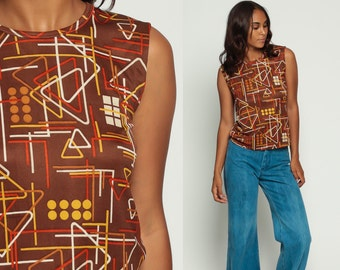 Geometric Shirt 70s Tank Top Retro Shirt TRIANGLE Dot Print Boho Sleeveless Top Brown 1970s Hipster Vintage Psychedelic Extra Large xl