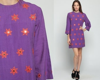 Shift Mini Dress EMBROIDERED MIRROR 60s Mod Purple Ethnic Boho Hippie 70s Sixties Vintage 3/4 Sleeve MiniDress Bohemian Large