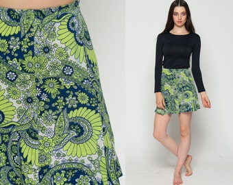 Floral Mini Skirt Mod Skirt 70s High Waisted Hippie Boho Psychedelic Paisley Print Retro 60s Vintage Lime Green Blue Extra Small xs