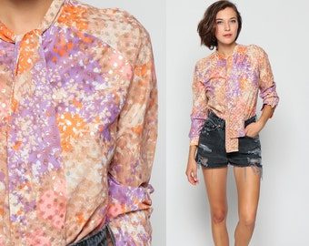 70s Bodysuit Blouse METALLIC Top FLORAL Print Ascot Necktie Leotard 1970s Hippie Psychedelic Shirt Disco Top Button Up Purple Pink Medium