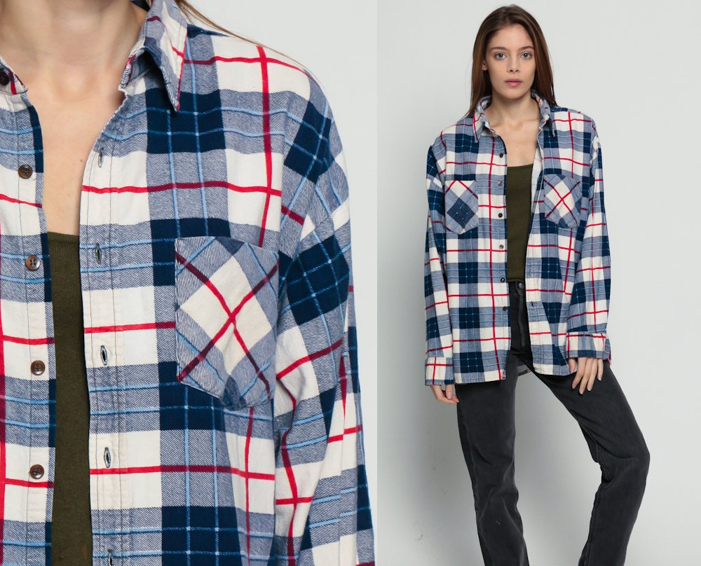 Flannel shirt 90s white blue plaid grunge lumberjack navy up for Navy blue and red flannel shirt