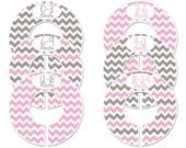 6 custom baby closet dividers (No.163) pink gray chevron Girl girl clothes divider newborn girl nursery school organizer Closet Doodles®