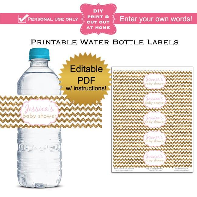 Water Bottle Name Tags: DIY Editable Printable Water Bottle Labels PDF Gold Glitter
