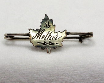 Antique Silver Mother Leaf Pin
