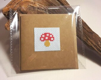 Mushroom Cross Stitch Greetings or Birthday Card