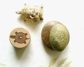 Vintage Wood Box Turtle Turquoise Stone Keepsake Jewelry Gift Box