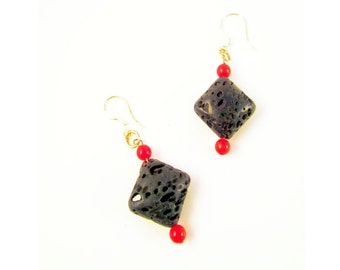 Lava and red coral diamond dangle earrings
