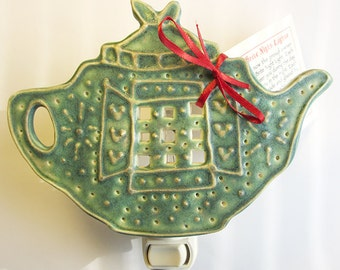 Porcelain Teapot Nightlight  5 1/2 x 4 inches