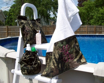 Camo Beach Towel,tote and ditty bag SET