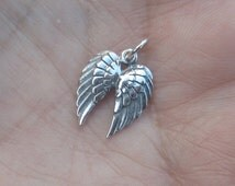 Sterling Silver or Bronze Double Angel Wings Charm(one charm)