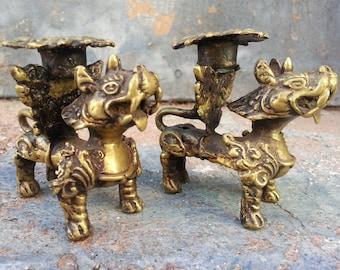 Foo Fu Guardian Dog Asian Brass Candle Holder Pair