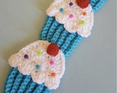 Ships now crochet  cupcake scarf blue   cherry SALE,\more colors