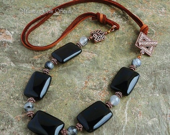 Black Onyx & Tourmalinated Quartz Necklace with Deerskin Leather and Antiqued Copper, Gemstone Jewelry